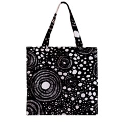 Circle Polka Dots Black White Zipper Grocery Tote Bag