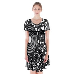 Circle Polka Dots Black White Short Sleeve V Neck Flare Dress by Mariart