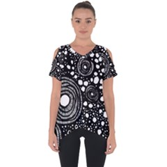 Circle Polka Dots Black White Cut Out Side Drop Tee