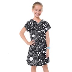 Circle Polka Dots Black White Kids  Drop Waist Dress