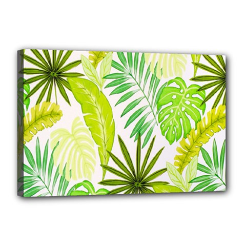 Amazon Forest Natural Green Yellow Leaf Canvas 18  X 12  by Mariart