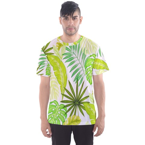 Amazon Forest Natural Green Yellow Leaf Men s Sports Mesh Tee by Mariart