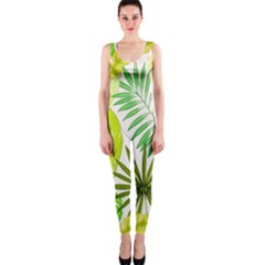 Amazon Forest Natural Green Yellow Leaf Onepiece Catsuit