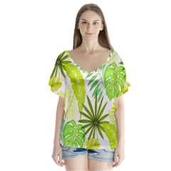Amazon Forest Natural Green Yellow Leaf V Neck Flutter Sleeve Top
