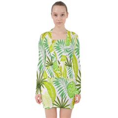 Amazon Forest Natural Green Yellow Leaf V Neck Bodycon Long Sleeve Dress