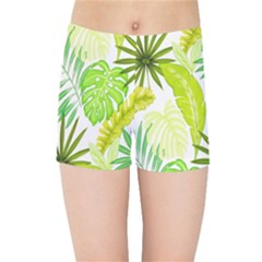 Amazon Forest Natural Green Yellow Leaf Kids Sports Shorts by Mariart