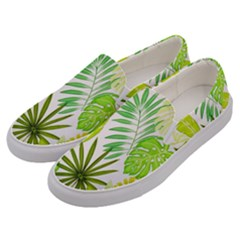 Amazon Forest Natural Green Yellow Leaf Men s Canvas Slip Ons by Mariart