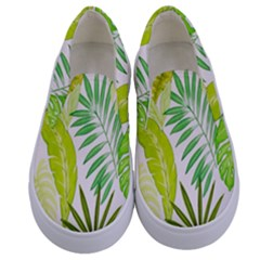 Amazon Forest Natural Green Yellow Leaf Kids  Canvas Slip Ons