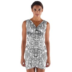 Black Psychedelic Pattern Wrap Front Bodycon Dress