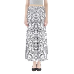 Black Psychedelic Pattern Full Length Maxi Skirt by Mariart