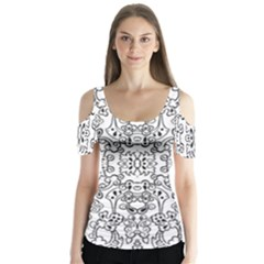 Black Psychedelic Pattern Butterfly Sleeve Cutout Tee