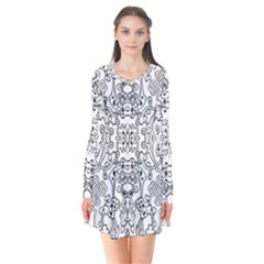 Black Psychedelic Pattern Flare Dress