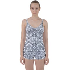 Black Psychedelic Pattern Tie Front Two Piece Tankini