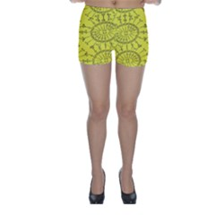 Yellow Flower Floral Circle Sexy Skinny Shorts by Mariart