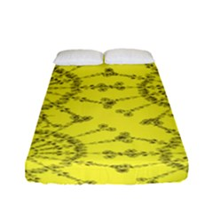 Yellow Flower Floral Circle Sexy Fitted Sheet (full/ Double Size)