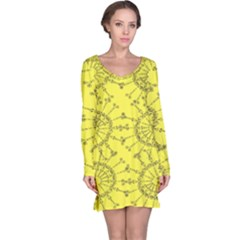 Yellow Flower Floral Circle Sexy Long Sleeve Nightdress