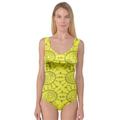 Yellow Flower Floral Circle Sexy Princess Tank Leotard  by Mariart