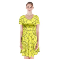 Yellow Flower Floral Circle Sexy Short Sleeve V Neck Flare Dress by Mariart