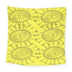 Yellow Flower Floral Circle Sexy Square Tapestry (large)