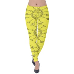 Yellow Flower Floral Circle Sexy Velvet Leggings by Mariart