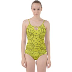 Yellow Flower Floral Circle Sexy Cut Out Top Tankini Set
