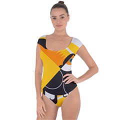 Cute Toucan Bird Cartoon Yellow Black Short Sleeve Leotard