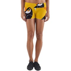Cute Toucan Bird Cartoon Yellow Black Yoga Shorts