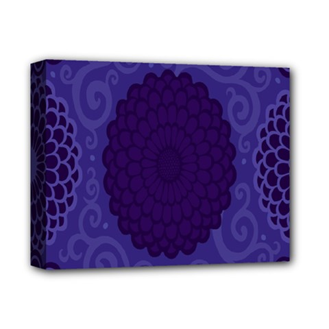 Flower Floral Sunflower Blue Purple Leaf Wave Chevron Beauty Sexy Deluxe Canvas 14  X 11  by Mariart