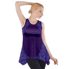 Flower Floral Sunflower Blue Purple Leaf Wave Chevron Beauty Sexy Side Drop Tank Tunic by Mariart