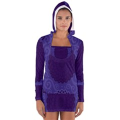 Flower Floral Sunflower Blue Purple Leaf Wave Chevron Beauty Sexy Long Sleeve Hooded T-shirt by Mariart