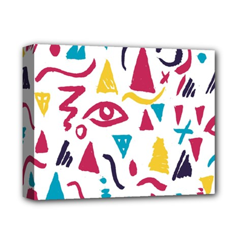 Eye Triangle Wave Chevron Red Yellow Blue Deluxe Canvas 14  X 11  by Mariart