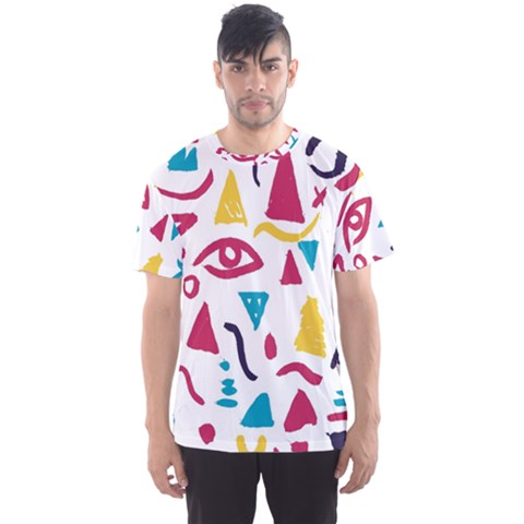 Eye Triangle Wave Chevron Red Yellow Blue Men s Sports Mesh Tee by Mariart