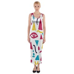 Eye Triangle Wave Chevron Red Yellow Blue Fitted Maxi Dress by Mariart