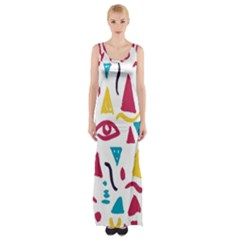 Eye Triangle Wave Chevron Red Yellow Blue Maxi Thigh Split Dress by Mariart