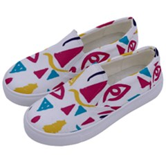 Eye Triangle Wave Chevron Red Yellow Blue Kids  Canvas Slip Ons by Mariart