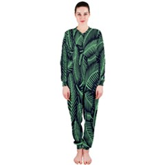 Coconut Leaves Summer Green Onepiece Jumpsuit (ladies)