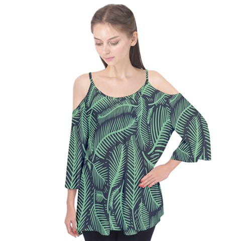 Coconut Leaves Summer Green Flutter Tees by Mariart