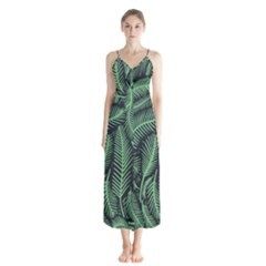 Coconut Leaves Summer Green Button Up Chiffon Maxi Dress by Mariart