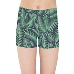 Coconut Leaves Summer Green Kids Sports Shorts by Mariart
