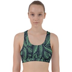Coconut Leaves Summer Green Back Weave Sports Bra