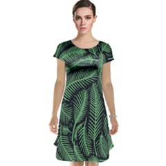Coconut Leaves Summer Green Cap Sleeve Nightdress