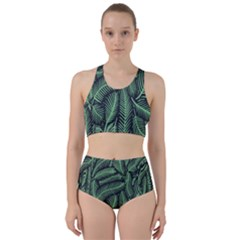 Coconut Leaves Summer Green Racer Back Bikini Set