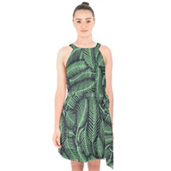 Coconut Leaves Summer Green Halter Collar Waist Tie Chiffon Dress