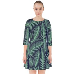 Coconut Leaves Summer Green Smock Dress
