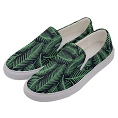 Coconut Leaves Summer Green Men s Canvas Slip Ons by Mariart