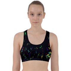 Colorful Music Notes Rainbow Back Weave Sports Bra