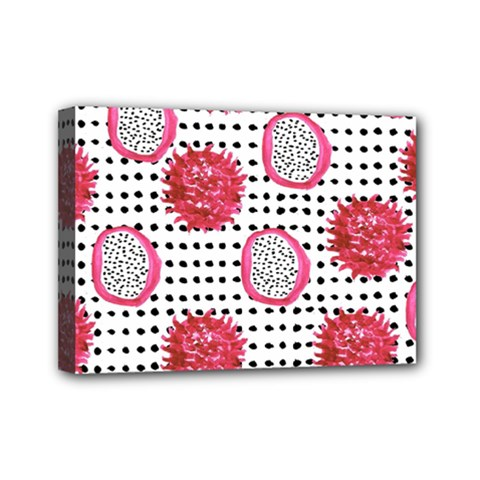 Fruit Patterns Bouffants Broken Hearts Dragon Polka Dots Red Black Mini Canvas 7  X 5  by Mariart