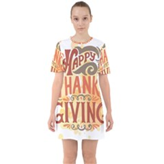Happy Thanksgiving Sign Sixties Short Sleeve Mini Dress