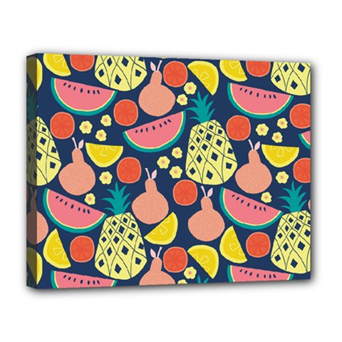 Fruit Pineapple Watermelon Orange Tomato Fruits Canvas 14  X 11  by Mariart