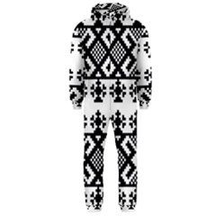 Model Traditional Draperie Line Black White Triangle Hooded Jumpsuit (men)  by Mariart